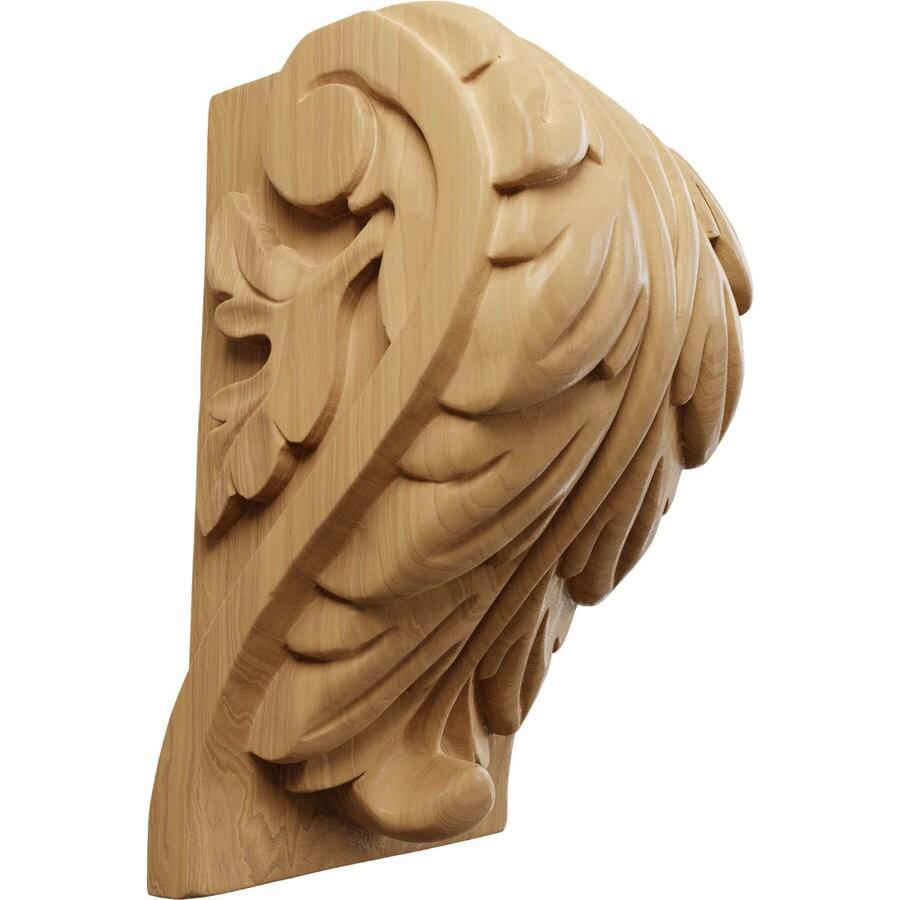Ekena Millwork 4.5-in x 7-in Cherry Acanthus Wood Corbel