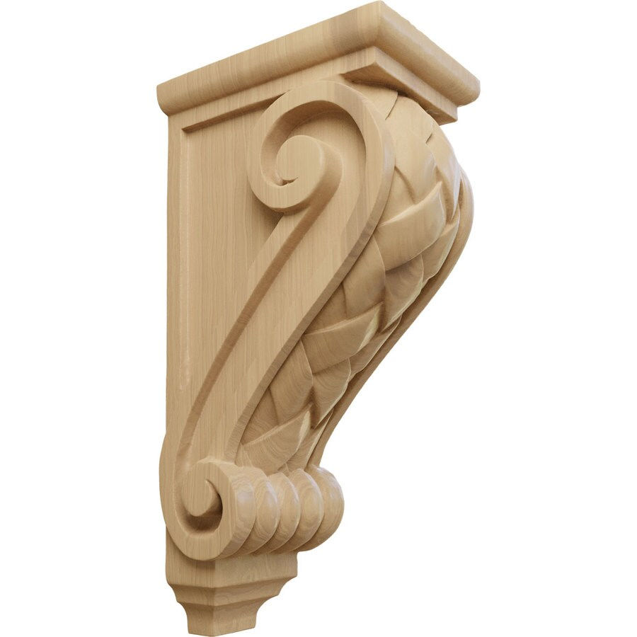 Ekena Millwork 5-in x 14-in Cherry Basket Weave Wood Corbel