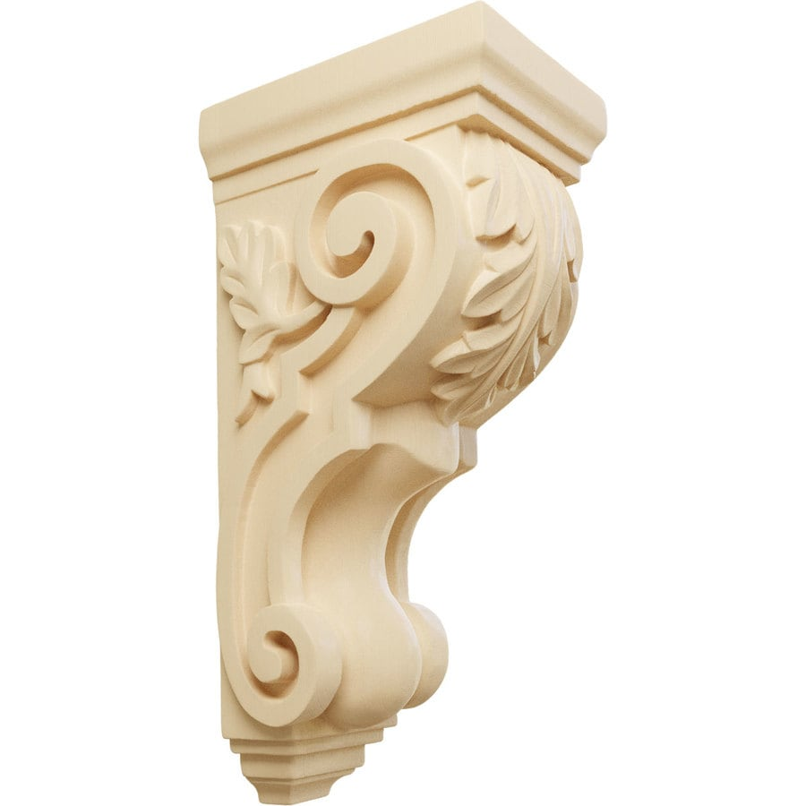 Ekena Millwork 5-in x 14-in Maple Acanthus Wood Corbel