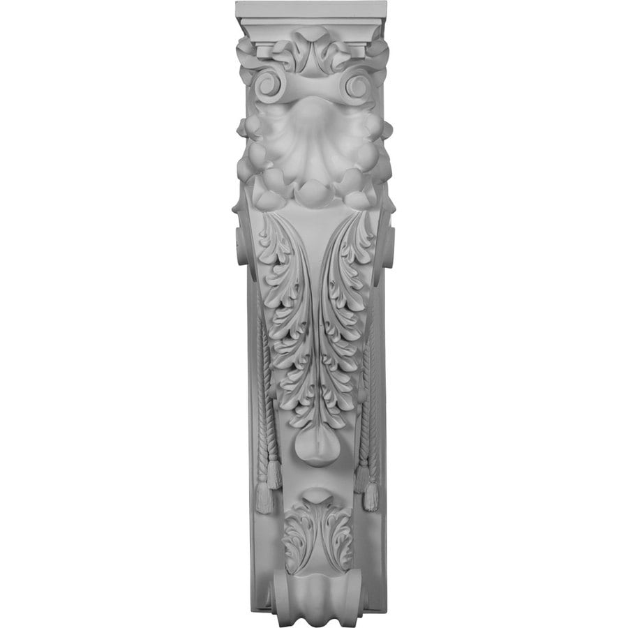 Ekena Millwork Scroll Leaf 7.875-in x 2.83-ft White Architectural Fireplace Pilaster