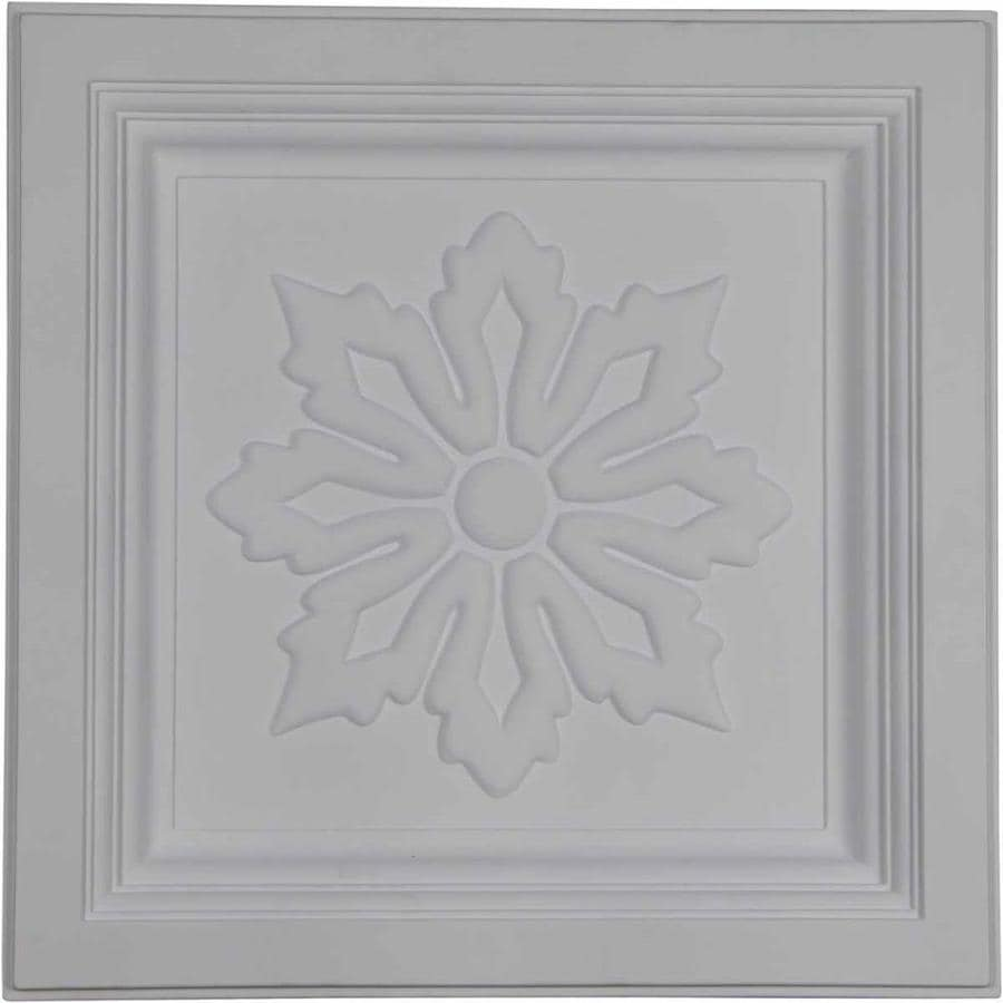 Ekena Millwork Floral Primed Patterned 3/4-in Drop Ceiling Tiles (Common: 24-in x 24-in; Actual: 23.875-in x 23.875-in)