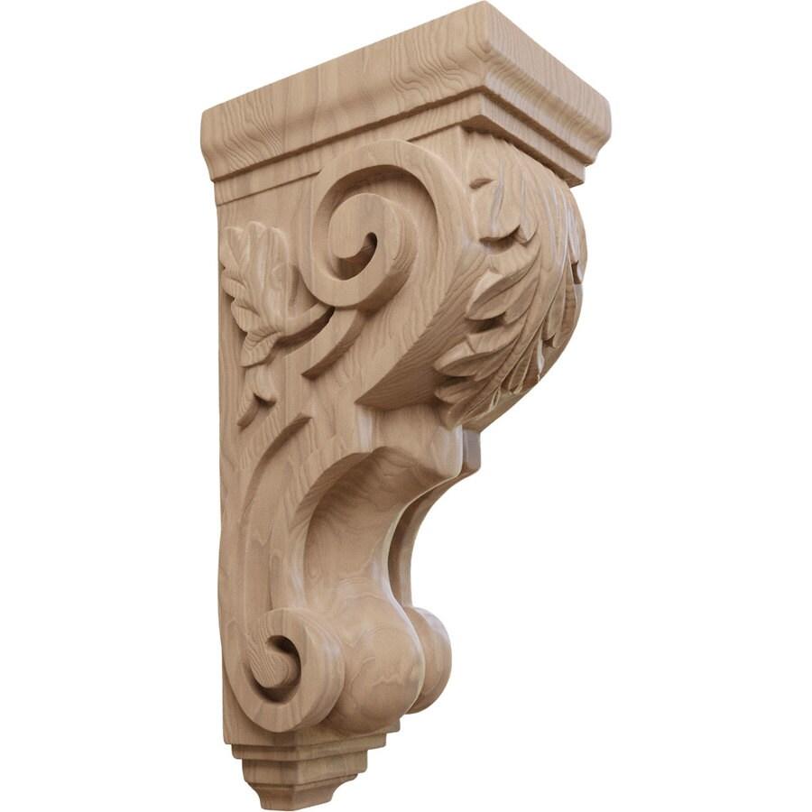 Ekena Millwork 5-in x 14-in Mahogany Acanthus Wood Corbel