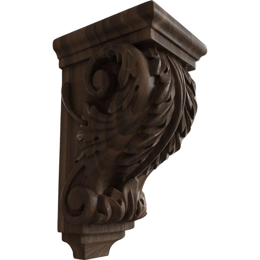 Ekena Millwork 3.5-in x 7-in Walnut Acanthus Wood Corbel