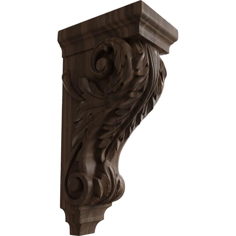 Ekena Millwork 5-in x 14-in Walnut Acanthus Wood Corbel