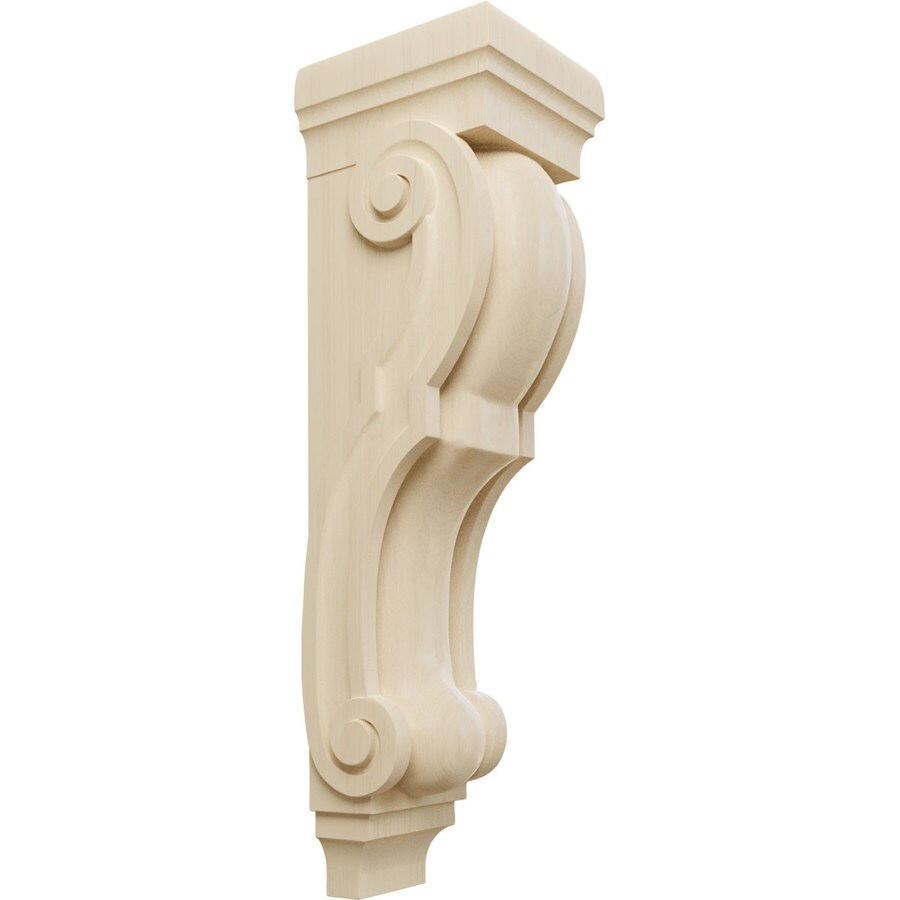 Ekena Millwork 9-in x 34-in Rubberwood Traditional Wood Corbel