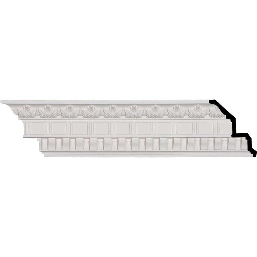 Ekena Millwork 5-in x 8.02-ft Primed Polyurethane Dentil And Leaf Crown Moulding