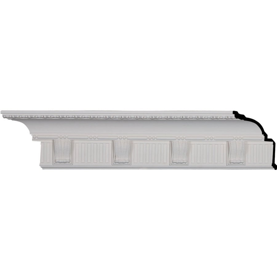 Ekena Millwork 6.125-in x 7.99-ft Primed Polyurethane Crendon Crown Moulding