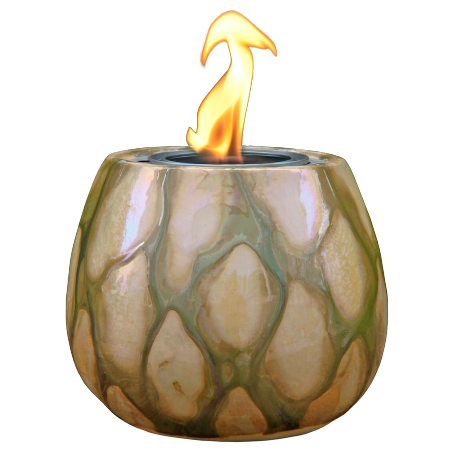 allen + roth Canyon 4.13-in Sandy Ceramic Fire Pot