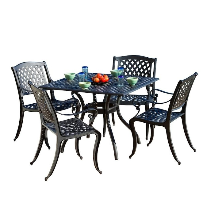 Best Selling Home Decor Hallandale 5 Piece Black Frame Patio Set In The Patio Dining Sets Department At Lowes Com