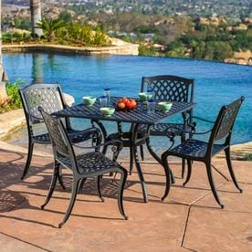 Best Ing Home Decor Hallandale 5 Piece Black Metal Frame Patio Set With