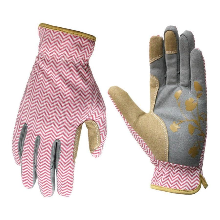 Style Selections Women's Medium Pink/Grey Leather Garden Gloves