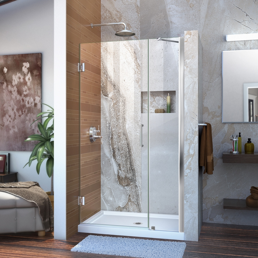 DreamLine Unidoor 35-in to 36-in Frameless Chrome Hinged Shower Door