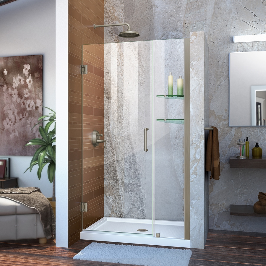 DreamLine Unidoor 35-in to 36-in W Frameless Brushed Nickel Hinged Shower Door