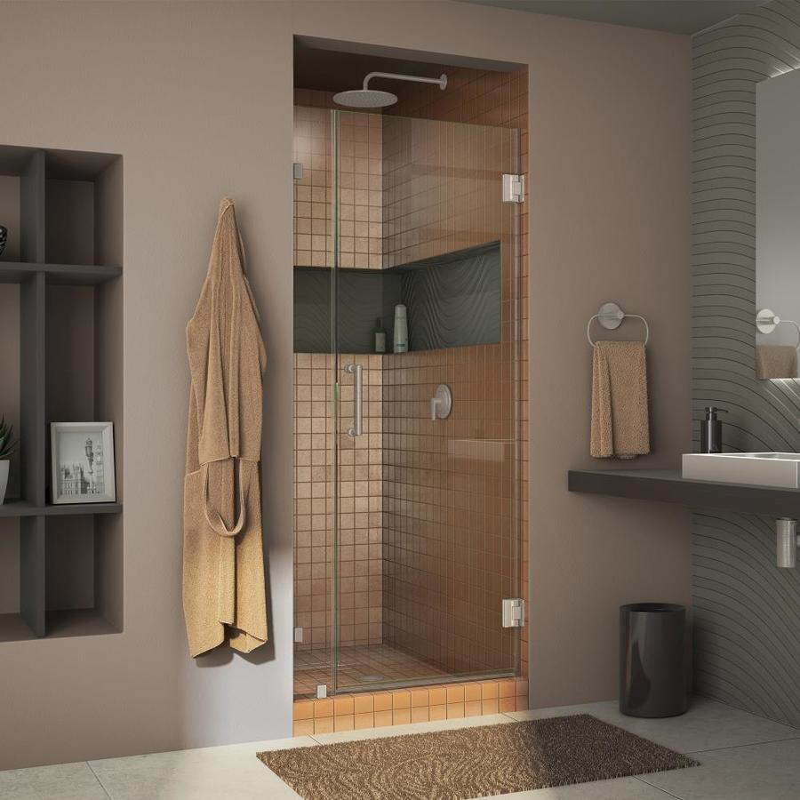 DreamLine Unidoor Lux 30-in to 30-in Frameless Brushed Nickel Hinged Shower Door