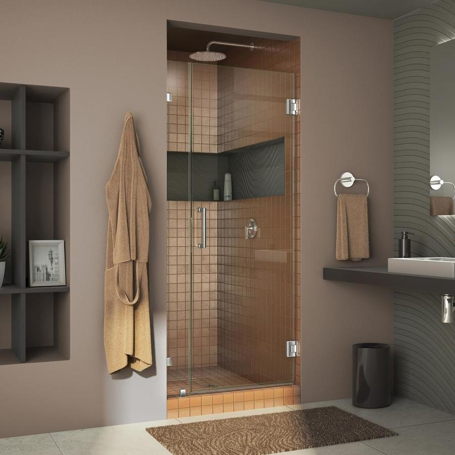 DreamLine Unidoor Lux 31-in to 31-in Frameless Chrome Hinged Shower Door