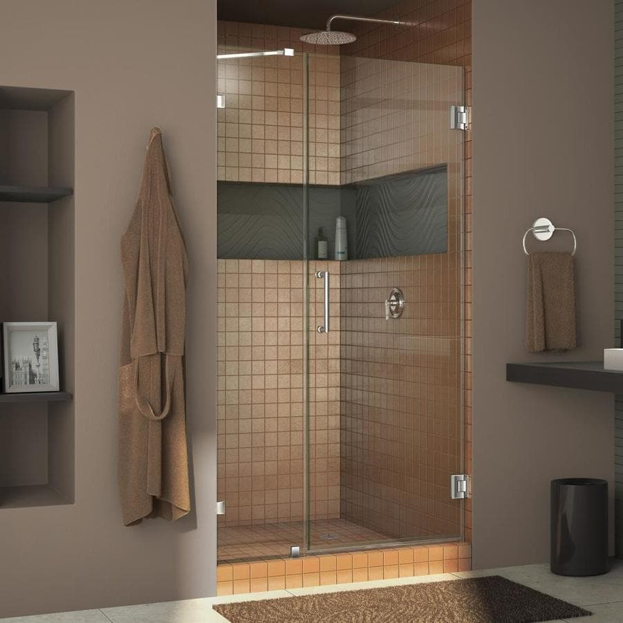 DreamLine Unidoor Lux 38-in to 38-in Frameless Chrome Hinged Shower Door