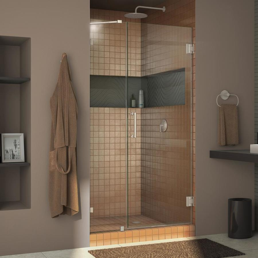 DreamLine Unidoor Lux 39-in to 39-in W Frameless Brushed Nickel Hinged Shower Door
