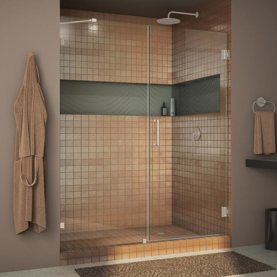 DreamLine Unidoor Lux 54-in to 54-in W Frameless Brushed Nickel Hinged Shower Door