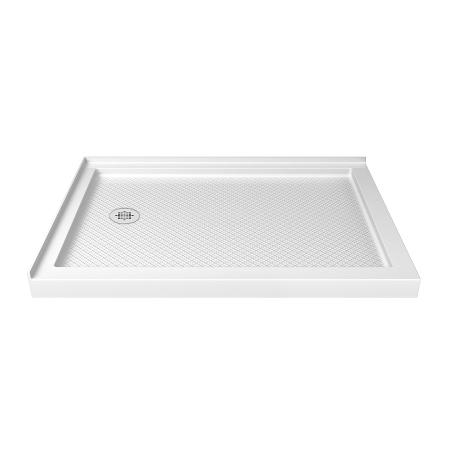 DreamLine SlimLine 48-in L x 34-in W White Acrylic Rectangle Corner Shower Base