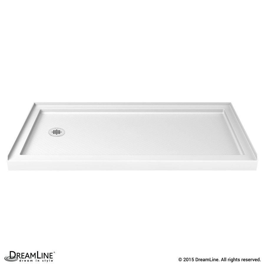 DreamLine SlimLine White Acrylic Shower Base (Common: 34-in W x 60-in L; Actual: 34-in W x 60-in L) with Left Drain