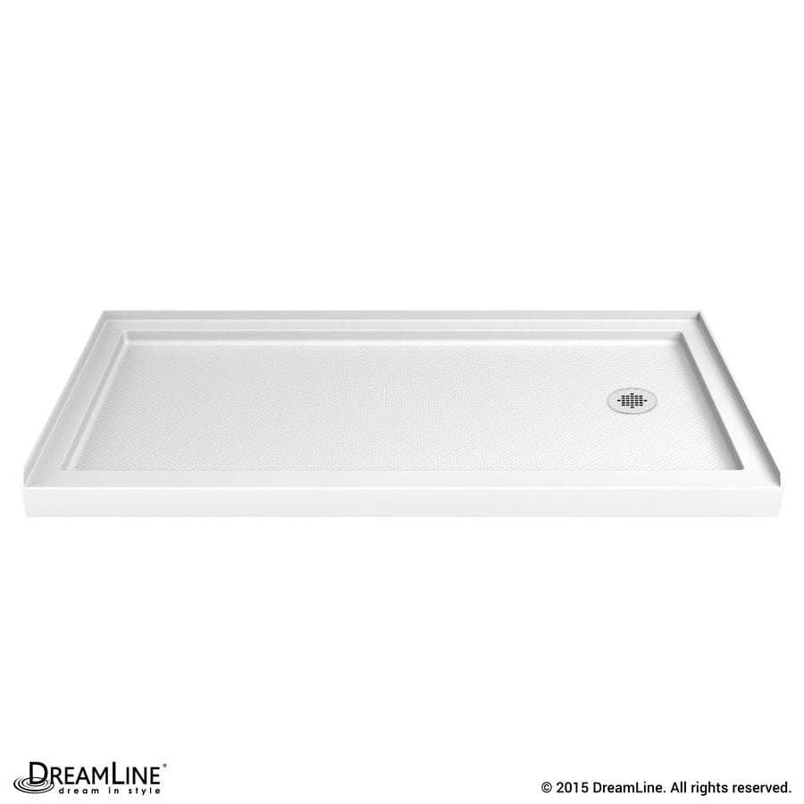 DreamLine SlimLine White Acrylic Shower Base (Common: 34-in W x 60-in L; Actual: 34-in W x 60-in L) with Right Drain