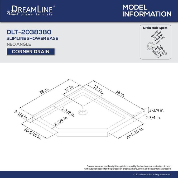 Dreamline Slimline 38 In L X 38 In W White Acrylic Neo Angle Corner Shower Base In The Corner Shower Bases Department At Lowes Com