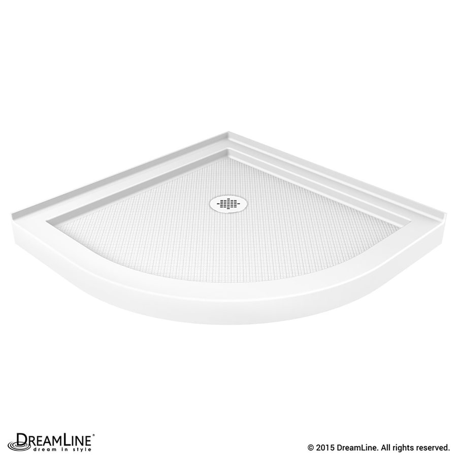 DreamLine Slimline 33-in L x 33-in W White Acrylic Round Corner Shower Base