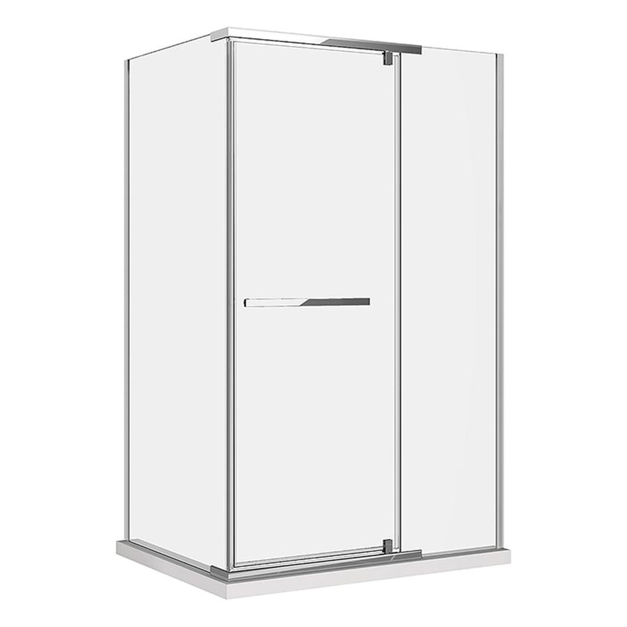 DreamLine Quatra 34.3125-in to 34.3125-in Polished Chrome Frameless Pivot Shower Door