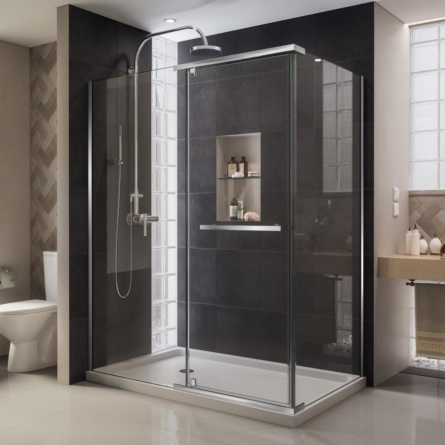 DreamLine Quatra 46.3125-in to 46.3125-in Frameless Chrome Pivot Shower Door