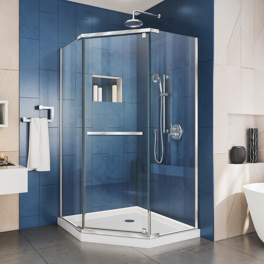 DreamLine Prism 40.125-in to 40.125-in Frameless Chrome Hinged Shower Door