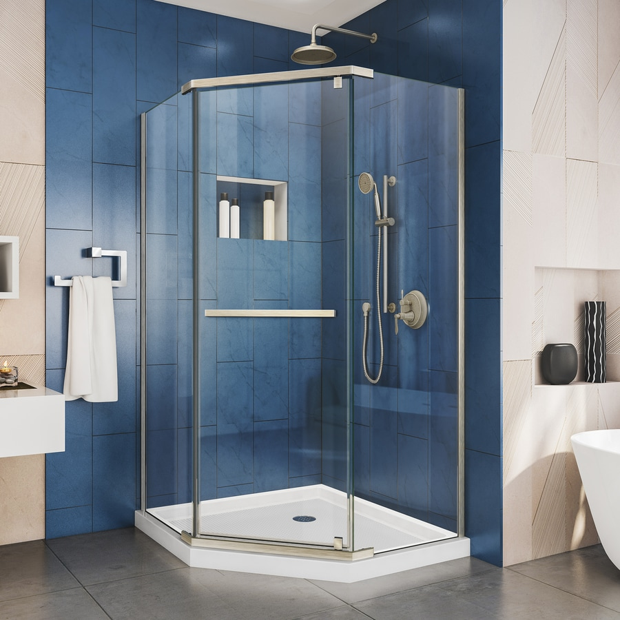 DreamLine Prism 34.125-in W x 72-in H Brushed Nickel Frameless Neo-Angle Shower Door