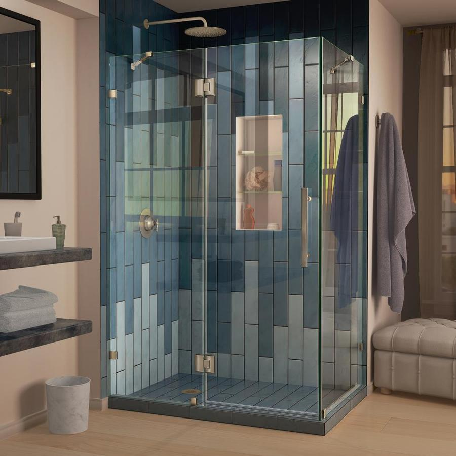 DreamLine Quatra Lux 34.3125-in to 34.3125-in Frameless Hinged Shower Door