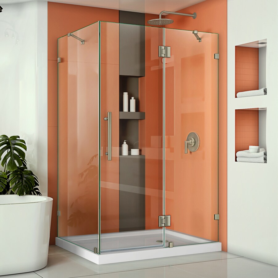 DreamLine Quatra Lux 46.3125-in to 46.3125-in Frameless Brushed Nickel Hinged Shower Door