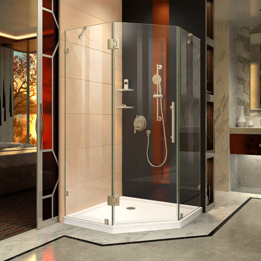DreamLine Prism Lux 36.3125-in to 36.3125-in Frameless Brushed Nickel Hinged Shower Door