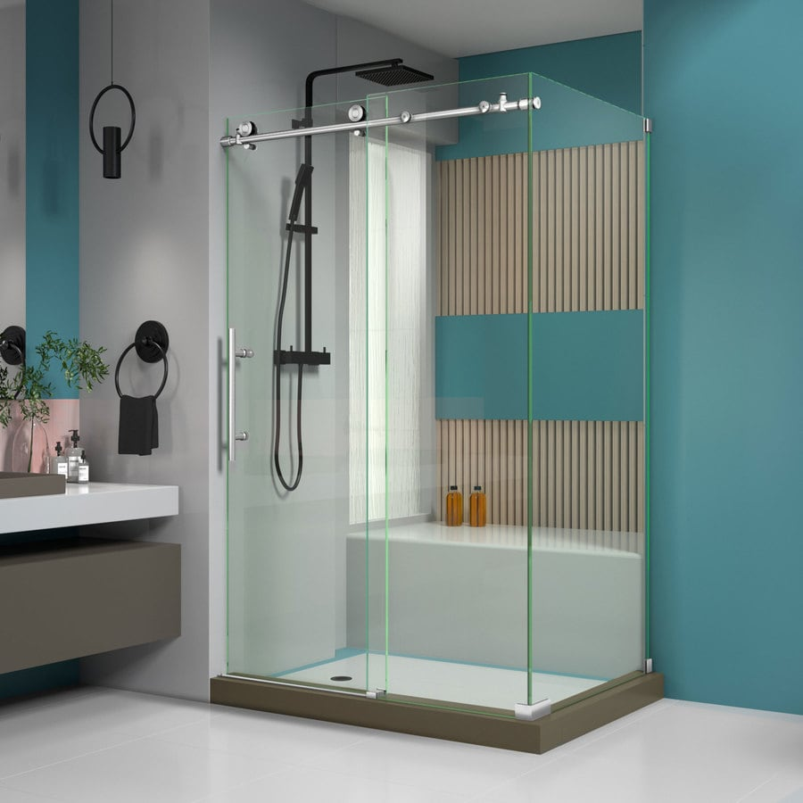 DreamLine Enigma-X 44.375-in to 48.375-in W Frameless Brushed Stainless Steel Sliding Shower Door