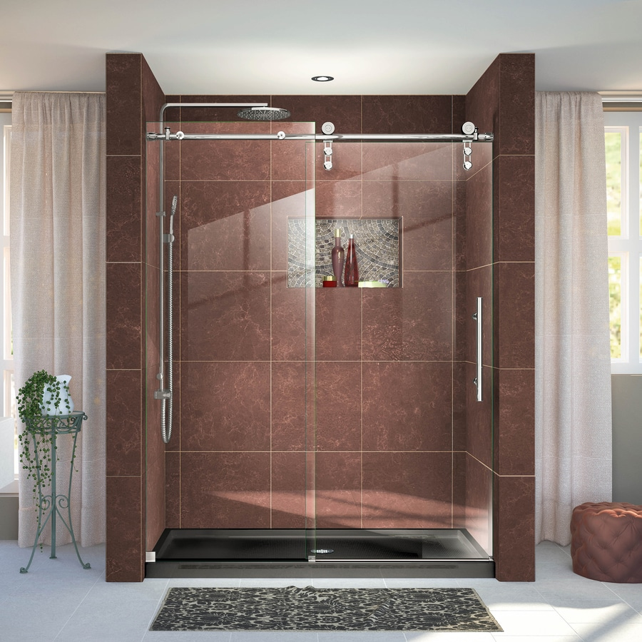 DreamLine Enigma-Z 56-in to 60-in Frameless Polished Stainless steel Sliding Shower Door