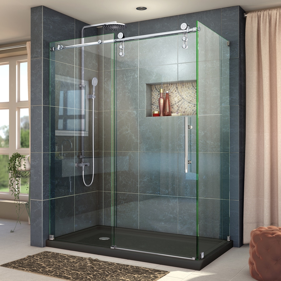 DreamLine Enigma-Z 56.375-in to 60.375-in Frameless Polished Stainless Steel Sliding Shower Door