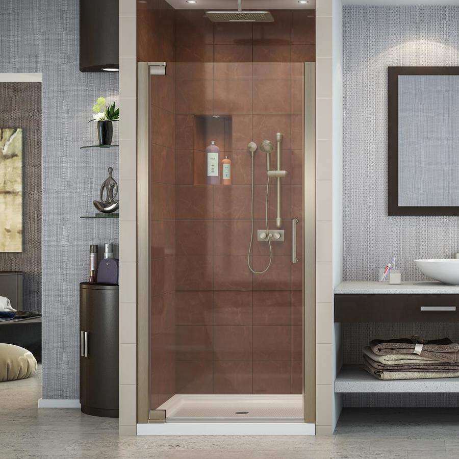 DreamLine Elegance 25.25-in to 27.25-in Frameless Brushed Nickel Pivot Shower Door