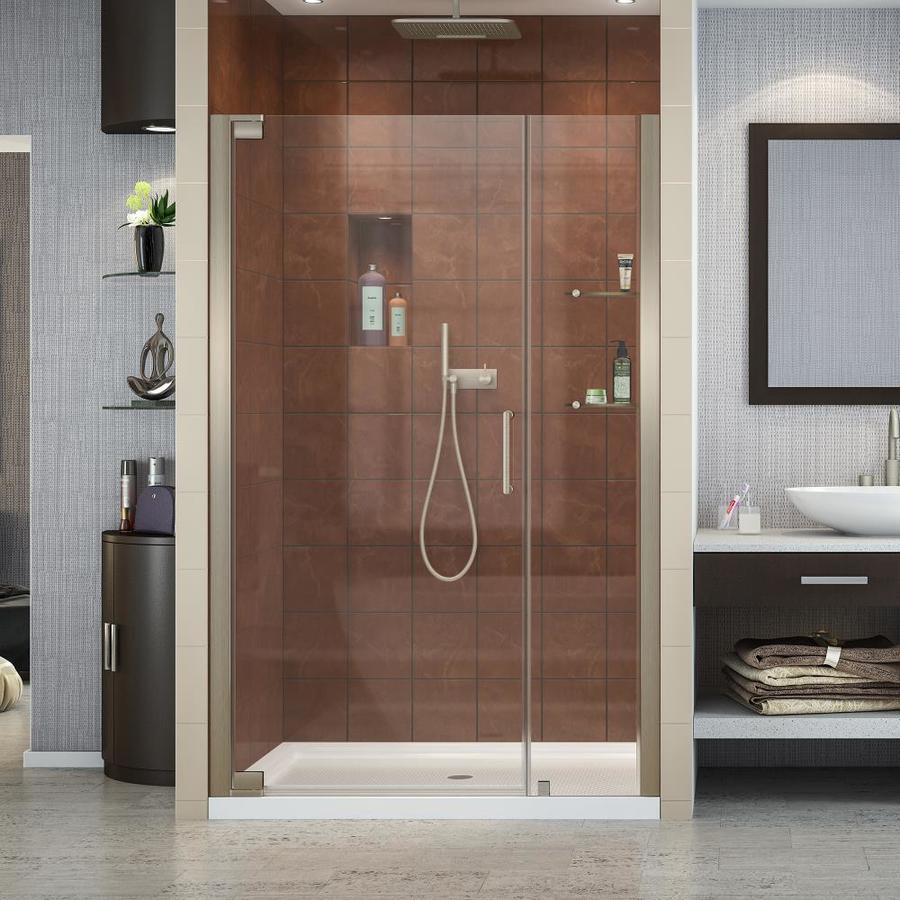 DreamLine Elegance 44.25-in to 46.25-in Frameless Brushed Nickel Pivot Shower Door