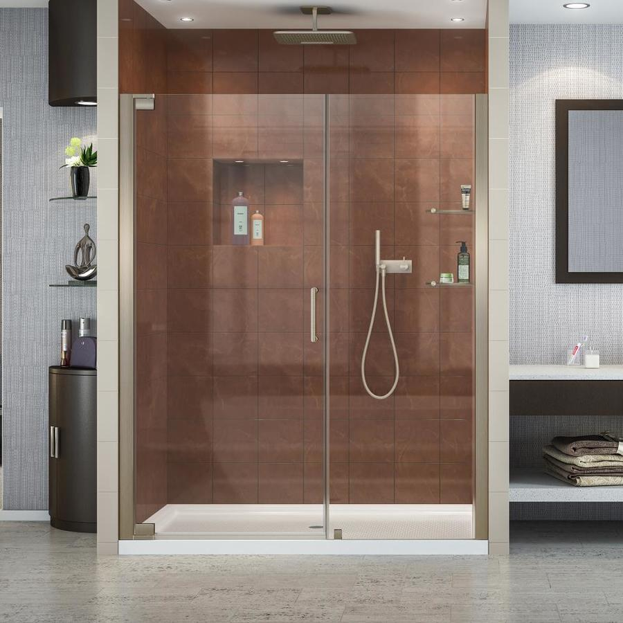 DreamLine Elegance 59.75-in to 61.75-in Frameless Brushed Nickel Pivot Shower Door