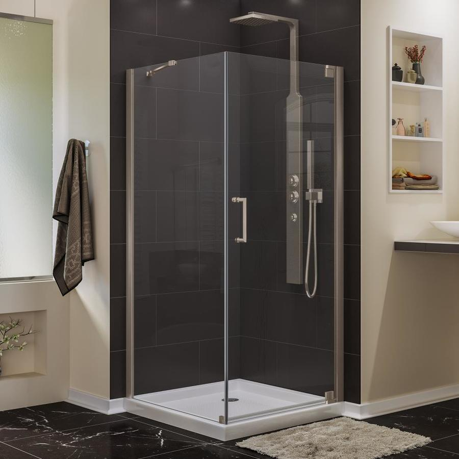 DreamLine Elegance 34-in to 34-in W Frameless Brushed Nickel Pivot Shower Door