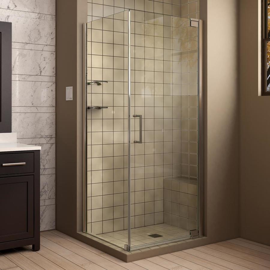 DreamLine Elegance 32-in to 32-in Frameless Brushed Nickel Pivot Shower Door