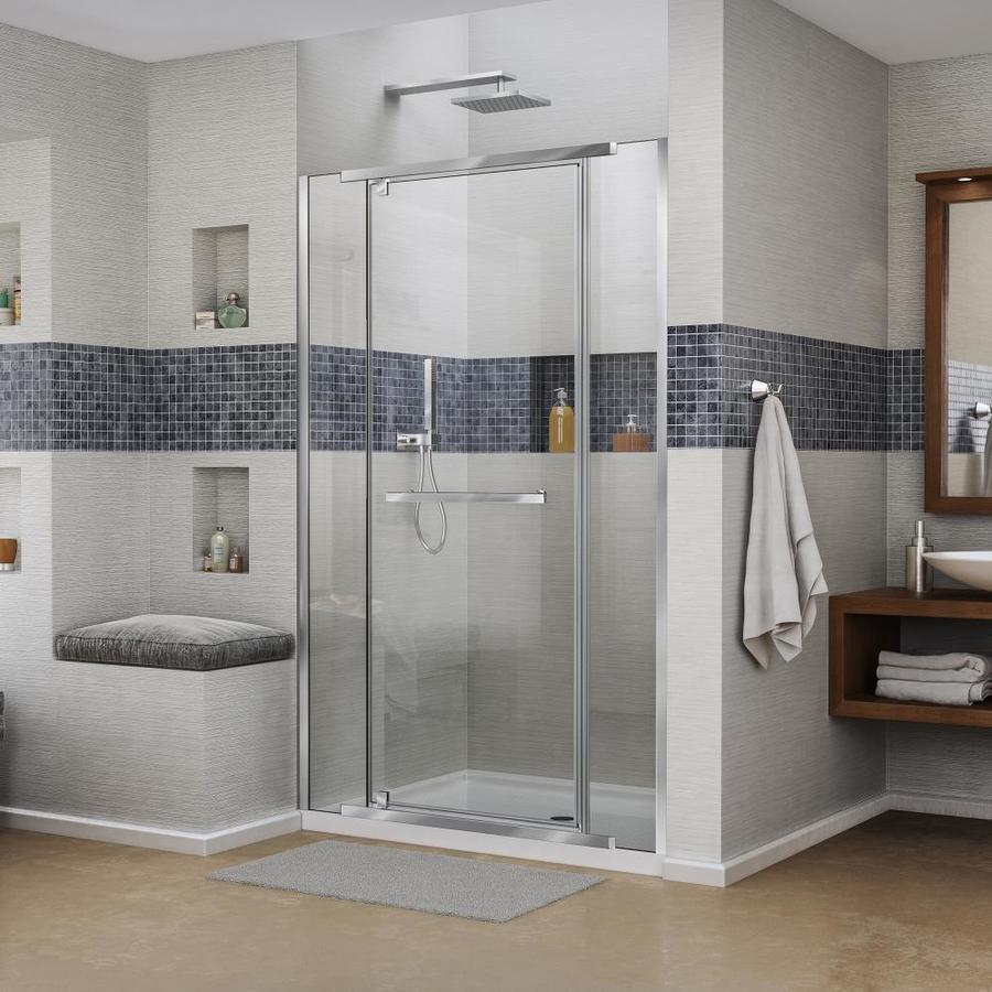 DreamLine Vitreo-X 46-in to 46.75-in W Frameless Chrome Pivot Shower Door