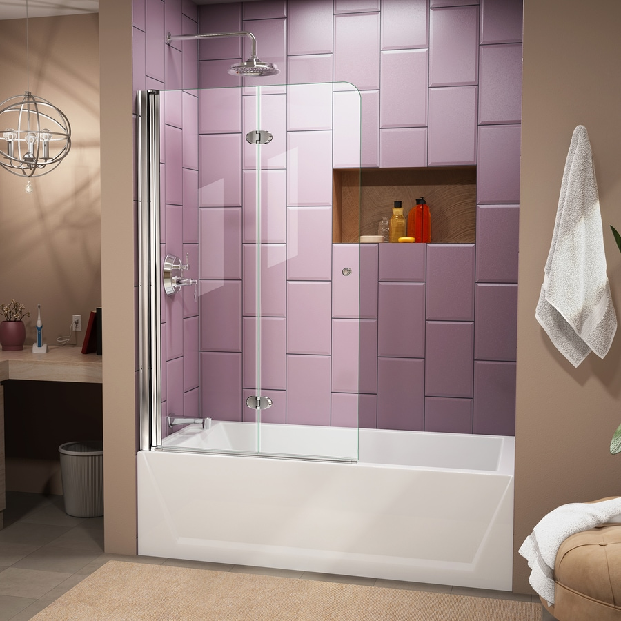 Shop DreamLine Aqua Fold 36 In W X 58 In H Bathtub Door At