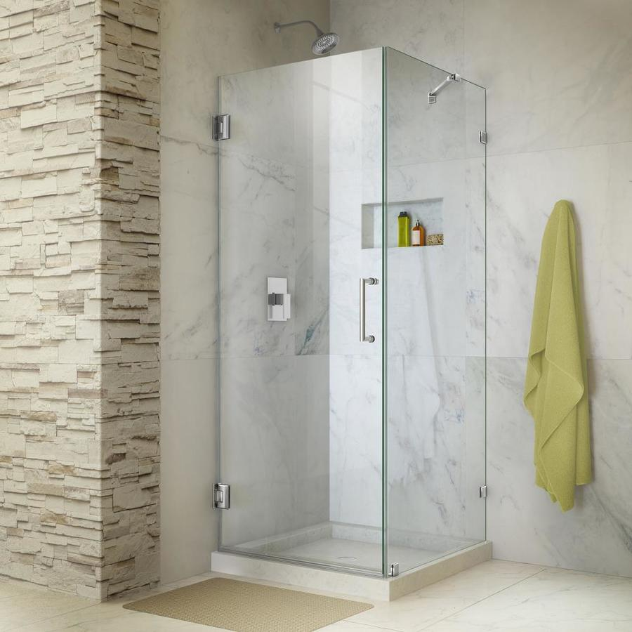 DreamLine Unidoor Lux 30.375-in W Frameless Chrome Hinged Shower Door