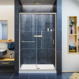 Shop shower doors at lowes dreamline infinity z 44 in to 48 in w frameless brushed nickel sliding planetlyrics Gallery