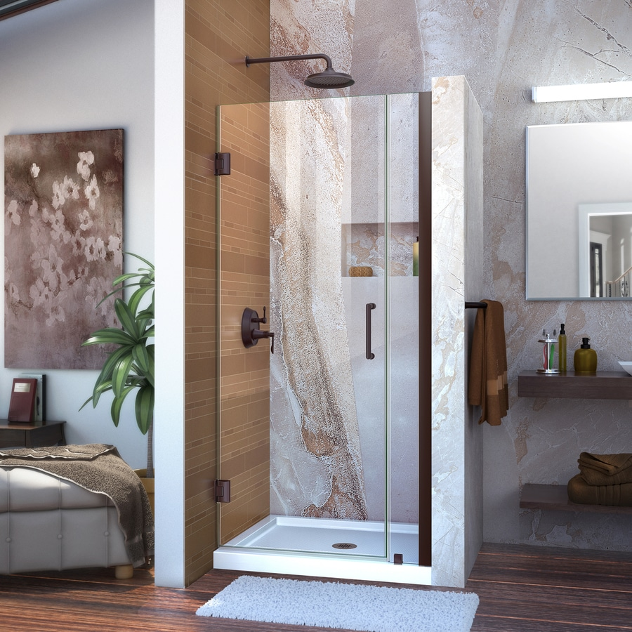 DreamLine Unidoor 33-in to 34-in W Frameless Oil Rubbed Bronze Hinged Shower Door