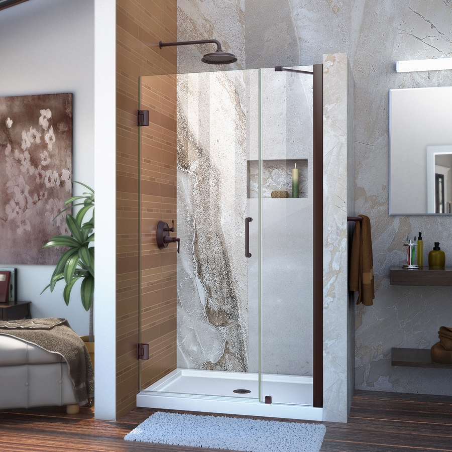 DreamLine Unidoor 41-in to 42-in Frameless Oil Rubbed Bronze Hinged Shower Door