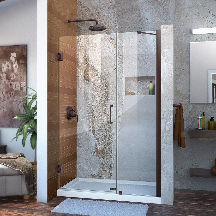 DreamLine Unidoor 45-in to 46-in Frameless Oil Rubbed Bronze Hinged Shower Door