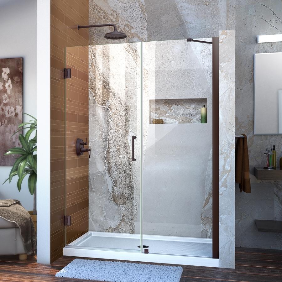 DreamLine Unidoor 48-in to 49-in Frameless Oil-Rubbed Bronze Hinged Shower Door